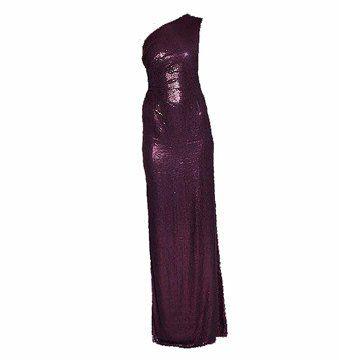 暗紫色亮缎礼服