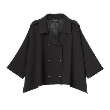 黑色双排扣斗篷式外套
