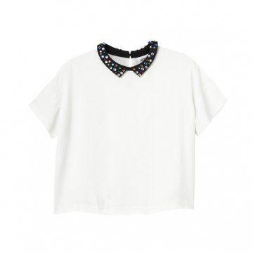 拼色宝石领短T恤