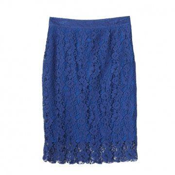 蓝色蕾丝双层铅笔裙