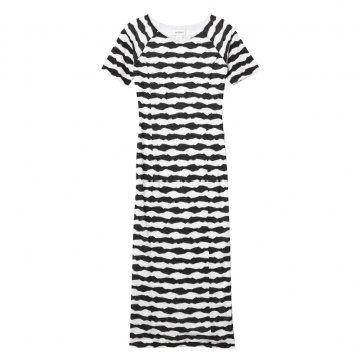 黑白涂鸦条纹T恤裙