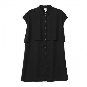 黑色无袖衬衫裙
