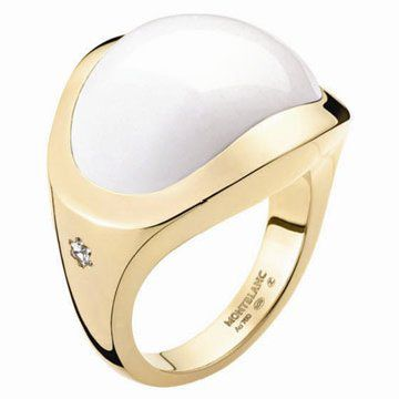 18K玫瑰金镶白玛瑙戒指