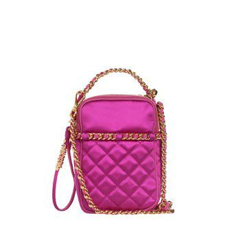 紫红色菱格手拎包
