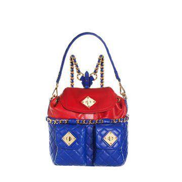 蓝红双色可爱房屋型两用包