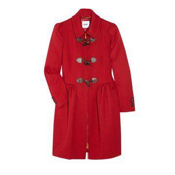红色褶饰羊毛大衣