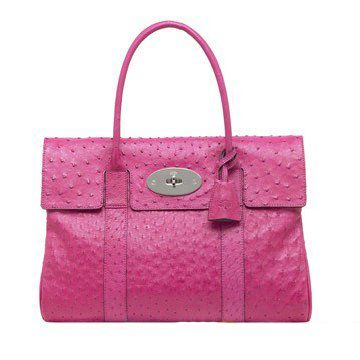 Bayswater系列桃粉色鸵鸟皮女士手袋