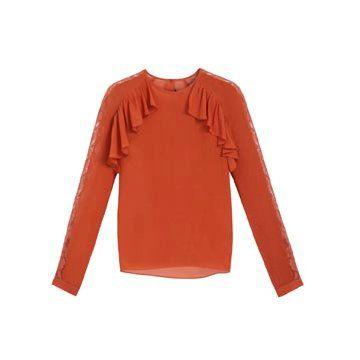 橘红色荷叶边长袖