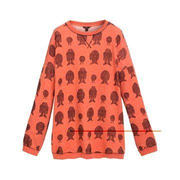 橘红色印花长袖
