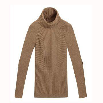 咖啡色高领毛衣