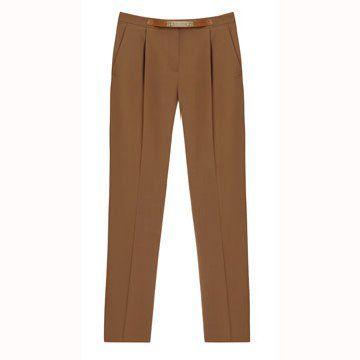 咖啡色九分裤