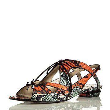 橘色蛇皮平底鞋