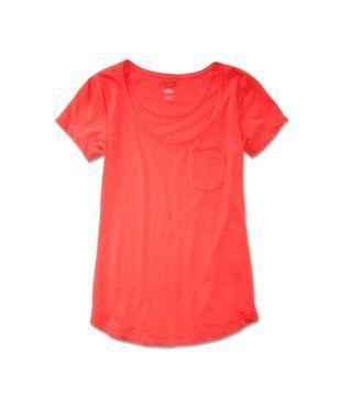 口袋饰西瓜红有机竹棉T恤