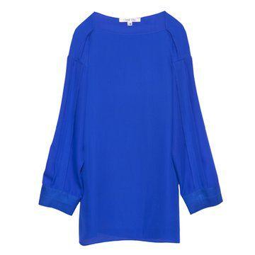 宝蓝色直筒长袖连衣裙