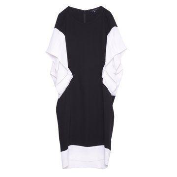 黑白拼接蝙蝠袖连衣裙
