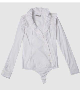 白色连裆衬衫