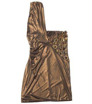 金属感斜肩连衣裙