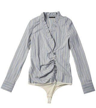 条纹连裆衬衫