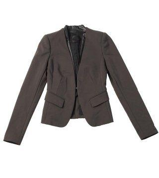 咖啡色皮领短外套