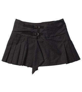 黑色百褶超短裙