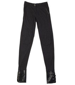 皮质裤脚休闲长裤