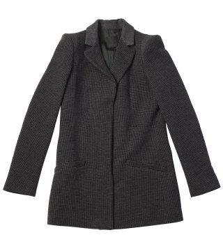 小格纹羊毛短大衣