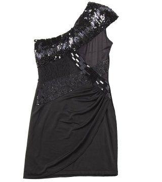 镶珠片斜肩连衣裙