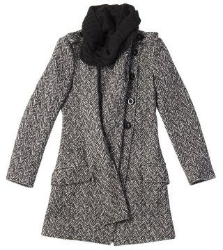 针织领折纹短大衣
