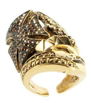 金色十字徽镶钻戒指