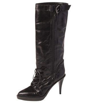 黑色系带饰长靴