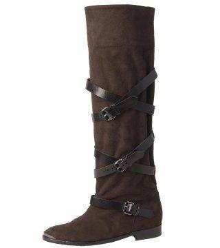 反皮及膝平跟长靴