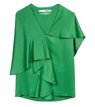 翡翠绿真丝上衣