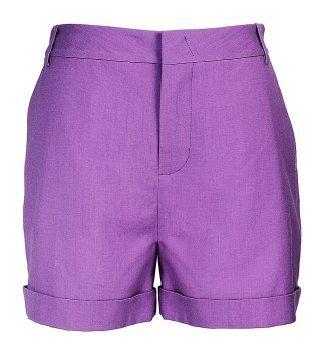 紫水晶色翻边短裤