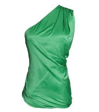 翡翠绿丝绸斜肩上衣