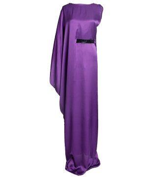 紫水晶色束腰晚礼服