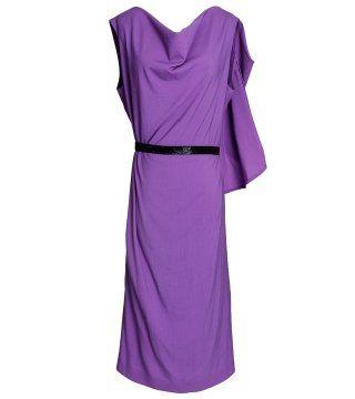 水晶紫色束腰连身裙