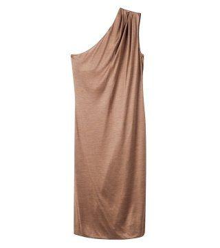 沙砾色斜肩连身裙