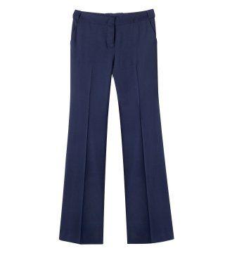 蓝色宽腿长裤