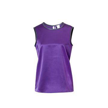 紫色无袖衬衣