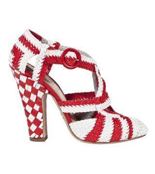 红白色草藤编织高跟凉鞋