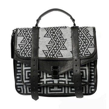 几何刺绣手提包