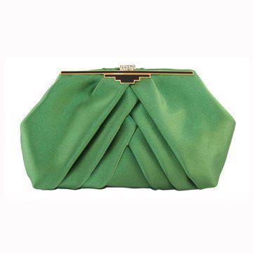 绿色缎面手拿包