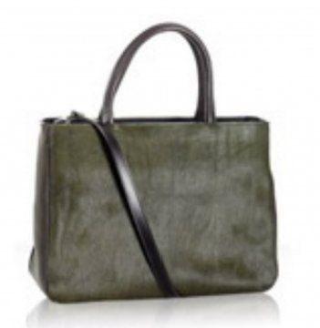 深橄榄绿皮革Pratica中号手袋