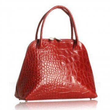红色印花鳄鱼皮日内瓦小号保龄球包
