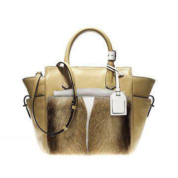 金色山羊毛手拎包