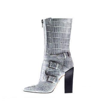 灰色蛇纹中靴
