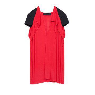 红黑拼接款V领短袖上衣