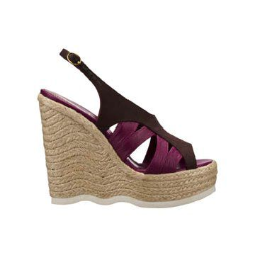 暗紫色拼接高跟鞋