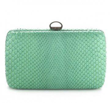 蓝绿色蛇皮手拿包