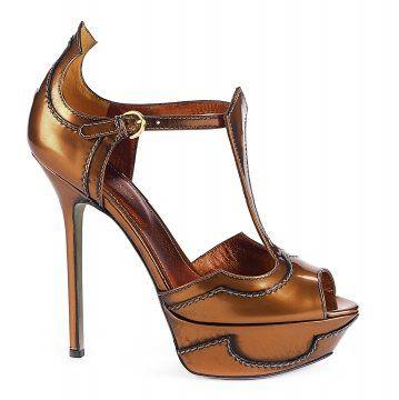金棕色T字带防水台高跟鞋